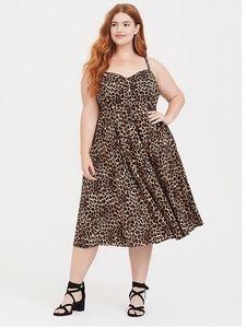 Leopard Button Front Midi Dress
